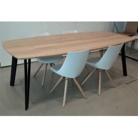 Table VIKY plateau raclin - Pieds SPLIT noir ou blanc