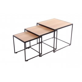 RUBIC 3 tables salon fer & chêne A7536