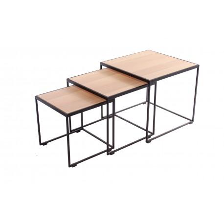 RUBIC 3 tables salon fer & chêne A7536