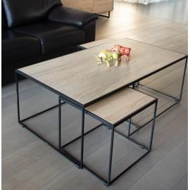 RUBIC tables salon fer & chêne A7484